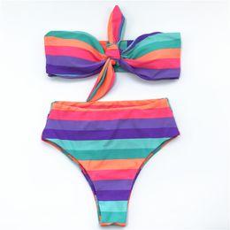 Traje de baño de dos piezas sin tirantes online-Sexy Colorful Strips Women Bikini Swimsuit 2019 Nuevo Strapless Beachwear Swimwear Split Trajes de baño dos piezas