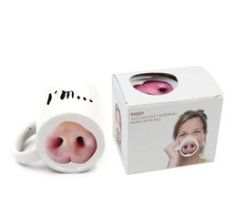 funny briefs Promo Codes - I'm Pig Creative Funny Pig Nose Ceramic Water Cup Novelty Coffee Mug with Handgrip Office Tea Cup Drinkware Office Hot Water Cup 777