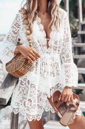 Piping kleider online-Spitze V-Ausschnitt Kleider für Frauen Sexy Female Panelled Asymmetrische Kleidung Sommer Casual Langarm Piping Bekleidung