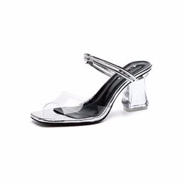 79816d9f7960 Summer Sandals 8.5cm Open Toe Anti-slip Elegant Chunkly Heel Transparent  Crystal High Heel Casual Woman Slippers