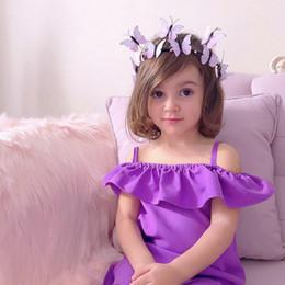 Vestuário violeta on-line-Meninas do bebê vestido de festa vestido suspender suspender ombro vestido de princesa verão crianças INS boutique de roupas