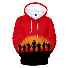Roter hoodie 4xl online-RED DEAD REDEMPTION 2 Hoodie 3D Print Langarm Sweatshirt Digitaldruck Tops für Herbst 2XS-4XL