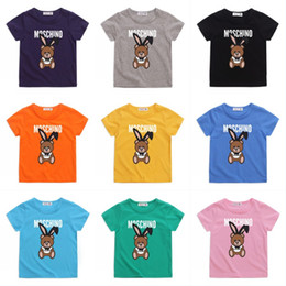 bear cartoon t shirts Promo Codes - Kids Cartoon Bear T Shirt Child Summer Short Sleeves Boys Tshirt Bear Print Round Neck Cotton Tops Kids Designer Clothes Boys