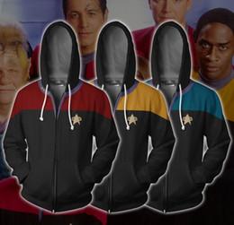 jaqueta de moletom zip completo Desconto Star Trek Hoodies Cosplay Starfleet Comando Ciência 3D Primavera Outono Casacos Completo Zip Pullover Coat Unisex Camisolas de Jumper