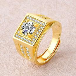 ouro chinês barato Desconto Chegada nova Designer de Luxo Anéis para Homens de Prata Banhado A Ouro Anel de Cristal Abertura Ajustar Anéis de Jóias Venda Quente