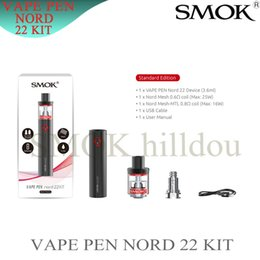 Bateria vogue on-line-100% Genuine Smok Vape Caneta Nord 22 Kit 2200 mAh Bateria Vape Tank Smoke Vogue Caneta Nord Nord 19 Kit 3.600 1300 mah Bateria 2 ML Tanque dhl