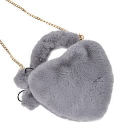 Piccoli cuori peluche online-Heart-Shaped Shoulder Messenger Bag Plush semplice delle donne borsa selvatica piccola borsa carina selvaggio femminile bag1112 # C
