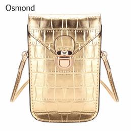 cff67c2d8a4 Barato FashionOsmond Bolsas pequeñas de oro para mujeres Bolso bandolera de  piel de cocodrilo Bolsos mini bandolera Bolso de mano Bolsos de teléfono