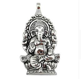 Tailandia encantos de plata online-20 unids Plateado Plata Antigua Religión Tailandia Ganesha Buda Encantos Colgantes para La Joyería Que Hace el Collar DIY Accesorios 62x32mm
