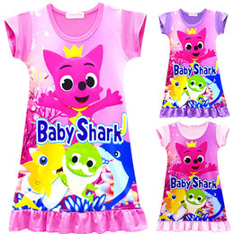 ea90477cc57 lovely wholesale clothing Promo Codes - 3 Color Girls baby shark Dress New  Children lovely cartoon