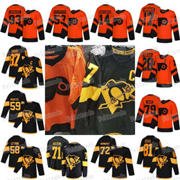 Jerseys pingüinos online-2019 Stadium Series Pittsburgh Penguins Philadelphia Flyers Jersey Sidney Crosby Jake Guentzel Malkin Hornqvist Letang Giroux Hart Couturier