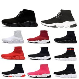 Botas de brilho para mulher on-line-2019 sapatos de alta qualidade velocidade Sock Sneakers estiramento moda malha High Top Botas para homens mulheres preto branco brilho vermelho Runner planas Trainers