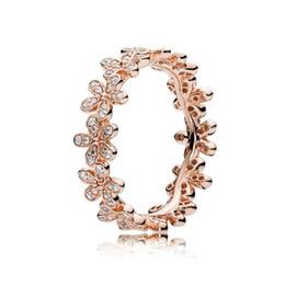 2019 925 prata rosa flor anel 18 K Rose Gold CZ Anéis de Diamante Definido Caixa Original para Pandora Real 925 Flores de Prata Moda Anel De Casamento De Luxo Para As Mulheres 925 prata rosa flor anel barato