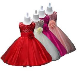 I vestiti dalla ragazza del fiore chiffoni infantili online-Girl Dress manica corta Flower Girl Abiti Baby Designer Designer abiti di colore solido Cintura fiore Sequin 28
