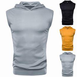 vestes d'entraînement de gymnastique pour hommes Promotion 2 pcs New Fashion Trent Mens Muscle Hoodie Débardeur Bodybuilding Gym Workout Sans Manches Gilet T-shirt Tee De Mode Gilet