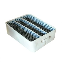 dresser box Promo Codes - 3 Grids Storage Drawer Organizer Under Bed Storage Container Bra Clothes Underwear Socks Underbed Box Closet Dresser Organizer