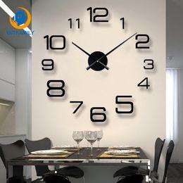 Grandes espejos modernos online-Sala de estar 3D Reloj de Pared Grande DIY Gran Espejo Pegatinas de Pared Reloj de Cuarzo Espejo de Acrílico Diseño Moderno Decoración Del Hogar