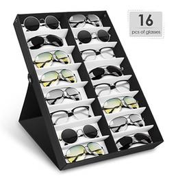 Racks de óculos de sol on-line-Óculos de sol Mostrar Organizador de Óculos para Relógios Jóias Acessórios de Cabelo (16 Slots) Óculos exibir quadro mostrado cremalheira 2 cores