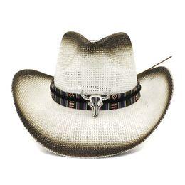 cdddd3cd Black Spray Paint Bull Head Decoration Unisex Women Men Panama Style Hat  Wide Large Brim Sun Visor Caps Paper Straw Cowboy Hats