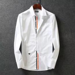 Argentina 2019 nueva marca de moda de manga larga para hombre camisas de vestir diseñador abeja bordado algodón de alta calidad para hombre camisas de negocios M-3XL Suministro
