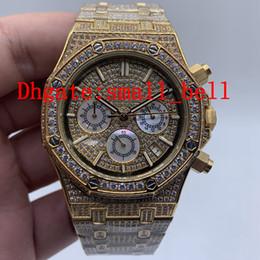 Импортировать алмазы онлайн-Завод прямые новые продукты 26320 полный лед мужские часы из нержавеющей стали импортированные VK кварцевый механизм 42 мм мужские многофункциональные алмазные часы