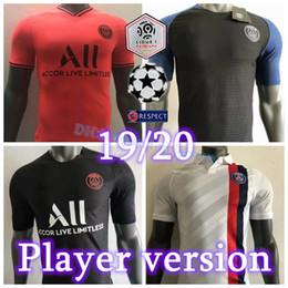 camiseta de fútbol de tailandia al por mayor Rebajas 2019 2020 Player Version Paris Saint Germain Jerseys 7 MBAPPE VERRATTI CAVANI SARABIA DI MARIA Custom 19 20 PSG Local Visitante Camiseta de fútbol roja