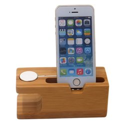 bamboo charging station Promo Codes - 2019 new arrivals bamboo wooden for iwatch charging station mobile phone stand universal non-slip mobile stand