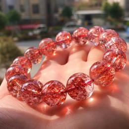 2019 perles de quartz claires 100% Véritable Naturel Lepidocrocite Quartz Rouge Super Sept Clair 14.5mm Perle Ronde Pour Les Femmes Stretch Cristal Bracelets promotion perles de quartz claires