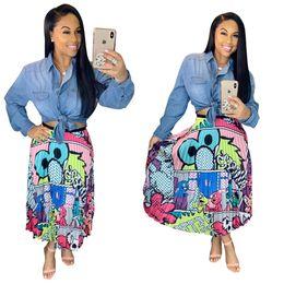 sexy vestidos de talla mediana más largos Rebajas 2019 nuevas mujeres vintage vestido estampado de dibujos animados sexy de cintura alta longitud de mitad de la pantorrilla faldas plisadas desgaste activo falda casual 3 color más tamaño 3XL