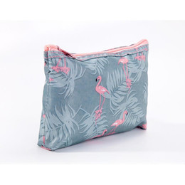 purse flats Promo Codes - Multifunction Zipper Storage Bags Flamingo Print Waterproof Cosmetic Bags Collapsible Travel Wash Bags Canvas Portable Purse BC BH0529-2