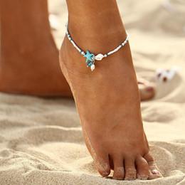 braccialetti di fascino della caviglia Sconti Boho Cavigliere Perle d'acqua dolce Charm Donna Sandali a piedi nudi Perline Bracciale alla caviglia Summer Beach Starfish Beaded Anklets TTA1416