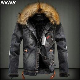 denim casaco de peles grossas homens Desconto 2019 Nova Fur colarinho Men Denim Casual Jacket inverno de espessura Denim Jacket Retro Plus Size