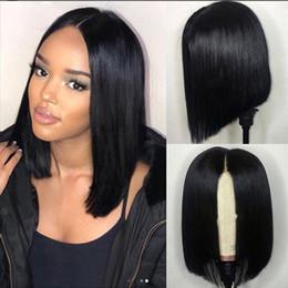 peluca base brasileña base de seda Rebajas 2019 Pelucas de cabello humano Con Frente / Full Lace Brasileño Natural Recto Para Mujeres Negras Medio Bob 130 150 180densidad Nudos blanqueados con presión previa