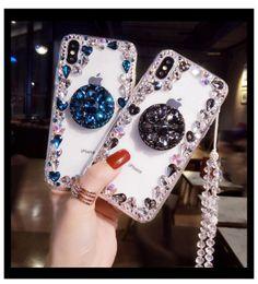 2019 capas de telefone bling lg Luxo faísca bling rhinestone phone case para iphone 11 pro max xr xs x 7 8 plus 6 s 6 soft case capa de cristal com cordão capas de telefone bling lg barato