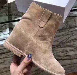 2020 botas de tornozelo nu Hot Sale-2019 Primavera SS19 queda das mulheres do sexo preto de couro reais de camurça bege nu saltos de cunha escondidos puxar tornozelo botas botas botas de tornozelo nu barato