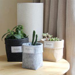 Cestos de plantas on-line-Felt Suculenta sacos de não-tecido Cactus Flower Grow Planters Pot ou Home Cesta de armazenamento Sacos Folding Flor EEA633