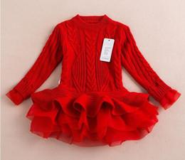 Vestido de suéter de las niñas de tul online-Venta al por menor Nueva moda Baby Jumper Girls Otoño e Invierno Vestidos de tutú Niños Vestidos de tul en stock