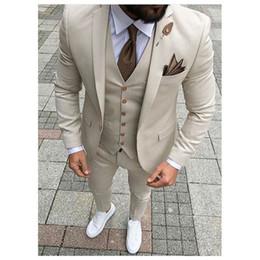 2019 vestito blu da usura della maglia di colore Abiti da sposa Sandy Beige smoking Slim Fit per gli uomini Groomsmen abito a tre pezzi economici Prom abiti formali (Jacket + Pants + Vest + Tie) 120