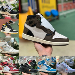 fishing shoes for men Promo Codes - Sale Travis Scotts X 1 High OG Mid Basketball Shoes Cheap UNC Chicago Bred White Toe Men Women 1s Not For Resale V2 Presto Designer Sneakers