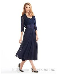 2019 robes de mariée mère bleu argent 2019 Nouveau thé longueur 3/4 manches en mousseline de soie dentelle avec dentelle A-ligne Robe de mère de la mariée 158