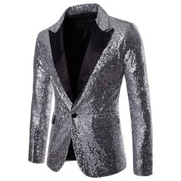 Costume de paillettes hommes en Ligne-LASPETRAL Automne Hommes De Mode Définit Haute Qualité Slim Fit Vêtements Hommes Costumes Sequin Estampillage Discothèque Hot Fashion Définit Manteau 2018