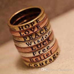 Le lettere anelli di dito online-Anelli graziosi per le donne Belle 8 lettere di desiderio retrò tagliate sopra la fascia dell'articolazione Midi Anelli superiori a dito medio Set Anelli per coppie in argento oro rosa caldo
