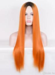 Dunkelorange perücken online-Orange bunte volle Spitzeperücke brasilianisches reines Haar seidige gerade vordere Menschenhaarperücke dunkle Wurzel lang für Frauen