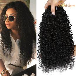 I capelli di curl kinky jerry online-Capelli umani ricci peruviani intreccia 100% 8A non trasformati brasiliano malese indiano mongolo jerry crespi ricci estensioni dei capelli vergini