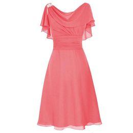 Vestido de novia elegante vestido de fiesta vestido de fiesta online-Vestidos de dama de honor cortos elegantes Mangas cortas Volantes de gasa Pliegues Longitud de la rodilla Fiesta formal Vestidos de baile Vestidos de invitados de boda