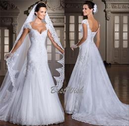 Mode noble sirène épaule gaine épaule dentelle applique pleine longueur perlée robe de mariée robes de mariée avec longue voile ? partir de fabricateur