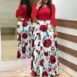 9e339b4330995 Women Plus Size Ladies Short Sleeve Round neck Color Matching Print Floral  Boho Maxi Dress Clothing