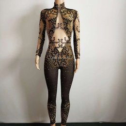 2019 costume del corpo d'oro YSW Sexy Gold Black Beads Jumpsuit Leggings donna Outfit Costumi per feste Stage Wear Body Dance Singer Strass Skinny R sconti costume del corpo d'oro