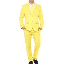 Argentina Amarilla de la boda del novio de los smokinges 2019 enarboló la solapa de Trajes para hombre de dos piezas de dos botones Trajes de fiesta por la noche por encargo (Jacket + Pants) supplier mens yellow suit jacket Suministro