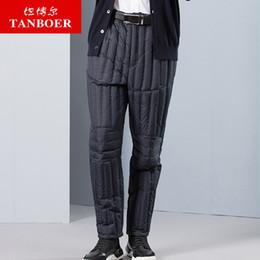 pantalons en duvet pour hommes Promotion TANBOER hommes bas pantalons hiver pantalons fashin épais duvet de canard pantalon pour hommes pantalon long imperméable à l'eau TA18011